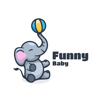 Logo zabawne dziecko prosty styl maskotki.
