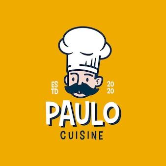 Logo zabawny kreskówka retro szefa kuchni