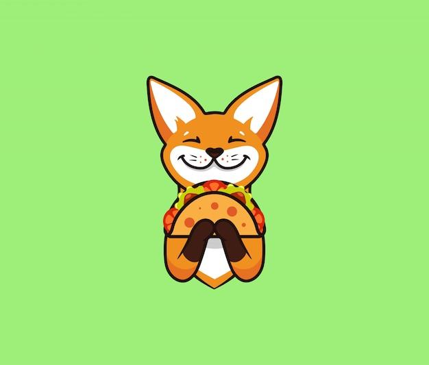 Logo zabawny lis zjada taco. ładny foxy, postać z kreskówki, logo żywności web