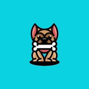Logo zabawy kości psa