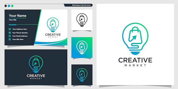 Logo zakupów z kreatywnym stylem sztuki linii i szablonem projektu wizytówki
