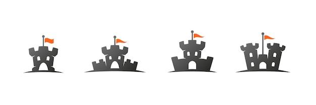 Logo zamku i zestaw ikon