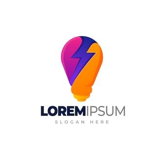 Logo żarówki elektrycznej szablon logo gradientu żarówki grzmotu