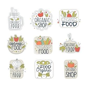 Logo zdrowej ekologicznej żywności wegańskiej w różnych kształtach