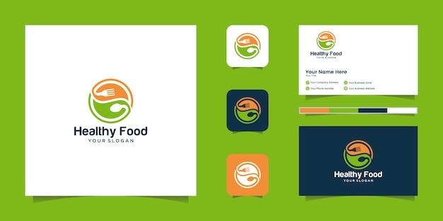 Logo zdrowej żywności z negatywnym miejscem na łyżki i widelce oraz inspirowaną wizytówką