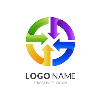 Logo ze strzałką z okrągłym wzorem