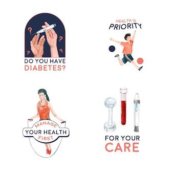 Logo ze światowym dniem cukrzycy dla marki i akwareli ikon