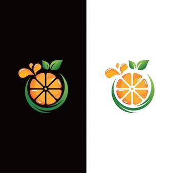Logo ze świeżych owoców pomarańczy