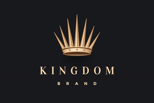Logo ze złotą koroną króla i napisem królestwo