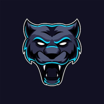 Logo zespołu maskotka głowa pantery czarny kot