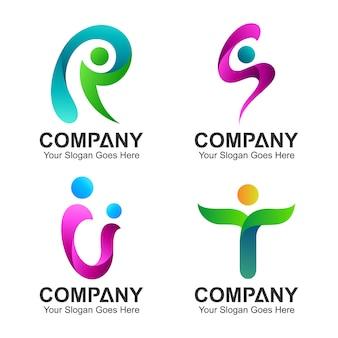Logo zestaw początkowej kombinacji liter z kształtem ludzi