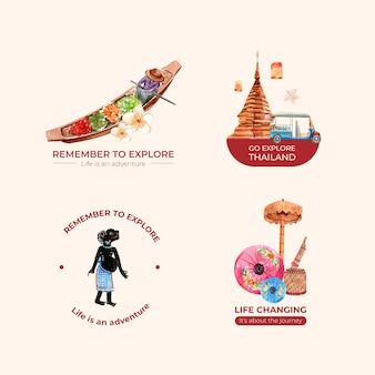 Logo zestaw z koncepcją podróży do tajlandii dla marki i marketingu w stylu przypominającym akwarele