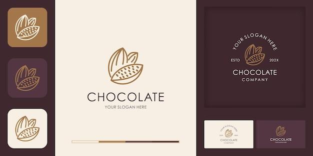 Logo ziaren kakaowych ze stylem linii i wizytówką
