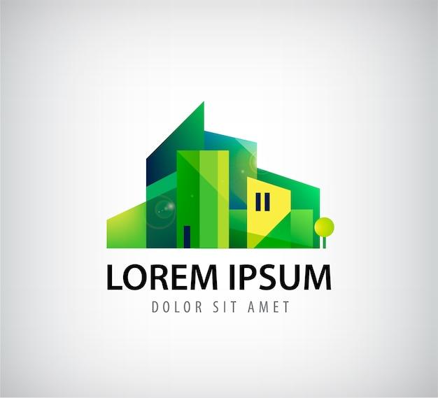 Logo zielonego budynku na szarym tle