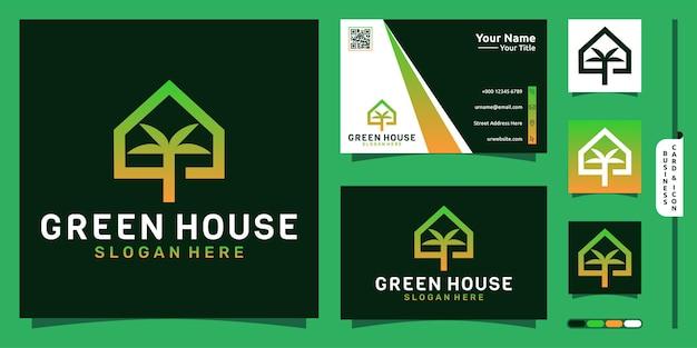 Logo zielonego domu z nowoczesną koncepcją drzewa i projektem wizytówki premium vector