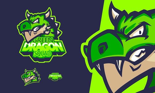 Logo zielony smok gry ilustracja maskotka wektorowa premium