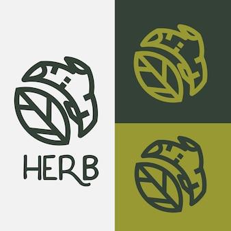 Logo zioła. liść i gałąź drzewa harbal - wektor