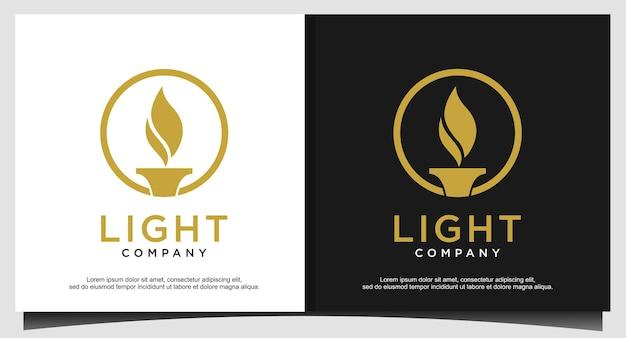 Logo złotego światła ognia pochodnia płomień