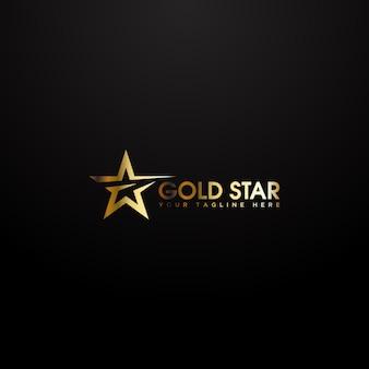 Logo złotej gwiazdy w eleganckim złotym kolorze na czarnym tle.