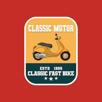 Logo znaczka klasycznego garażu motocyklowego