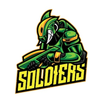 Logo żołnierza alien warrior esport
