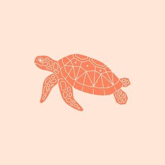 Logo żółwia morskiego w modnym, minimalistycznym stylu. wektor ikona zwierząt morskich na stronie internetowej, plakat, nadruk na koszulce, tatuaż, post w mediach społecznościowych i historie