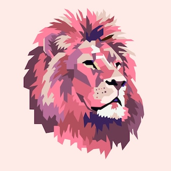 Logo zwierząt głowa lwa streszczenie