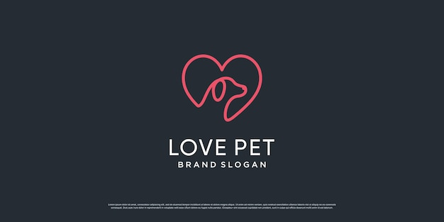 Logo zwierzątko z kreatywnym elementem z obiektem psa i kota premium wektorów część 5