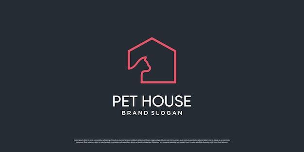 Logo zwierzątko z kreatywnym elementem z obiektem psa i kota premium wektorów część 6