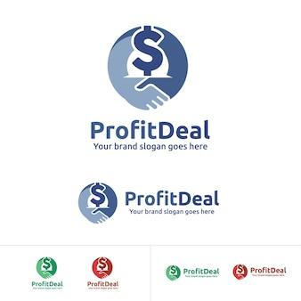 Logo zysku z podziałem na zysk, partner biznesowy z ikoną znaku dolara
