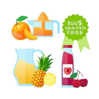 Logo żywności ekologicznej pojedyncze świeże owoce sok naturalnych produktów rolnych koncepcja