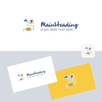 Logotyp energii z szablonem wizytówki. elegancka identyfikacja wizualna. - wektor