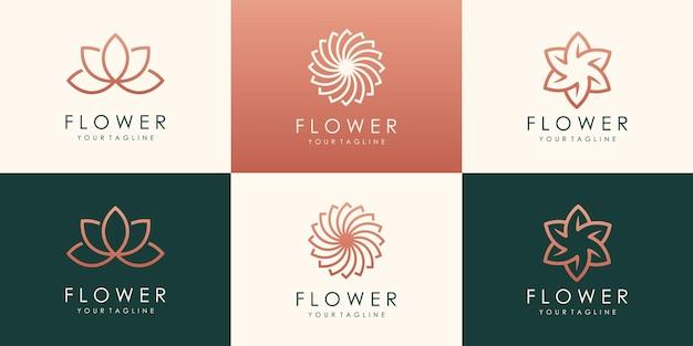 Logotyp kreatywnych okrągłych kwiatów lotosu. liniowe uniwersalne kwiatowe logo w kształcie liści