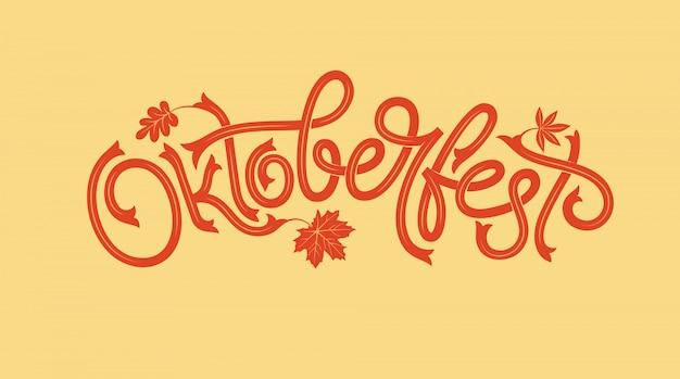 Logotyp oktoberfest z liściem klonu. transparent festiwalu piwa. ilustracja bawarskiego festiwalu z wieńcem kwiatów. napis na logo, plakat, kartę, pocztówkę, baner.