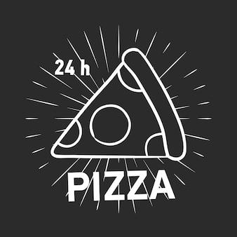 Logotyp retro z kawałkiem pizzy pepperoni i promieniami narysowanymi konturami