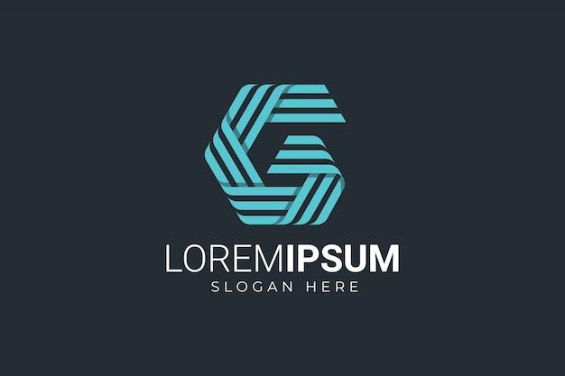 Logotyp w paski litery g.