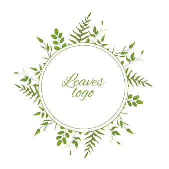 Logotyp z liśćmi akwareli