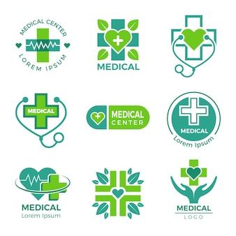 Logotypy medyczne. medycyna apteka klinika lub szpital krzyż oraz szablon projektu symboli opieki zdrowotnej.
