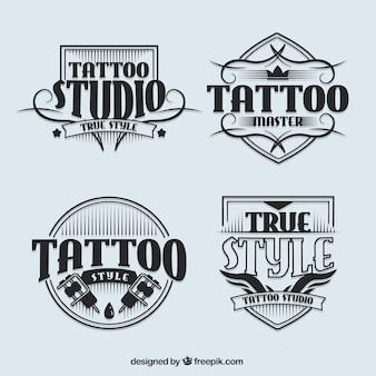 Logotypy studio tatuażu w stylu vintage