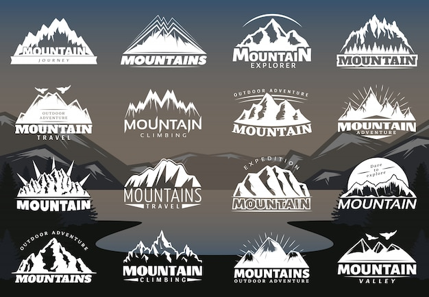 Logotypy vintage mountains