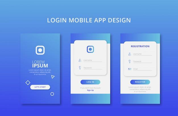 Logowanie i rejestracja aplikacji mobilnych z niebieskim kolorem gradientu