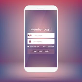 Logowanie użytkownika z mobilnego interfejsu internetowego.