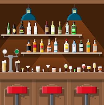 Lokal gastronomiczny wnętrze pubu ilustracji