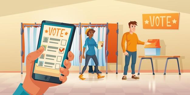 Lokal wyborczy i aplikacja mobilna do głosowania w dniu wyborów