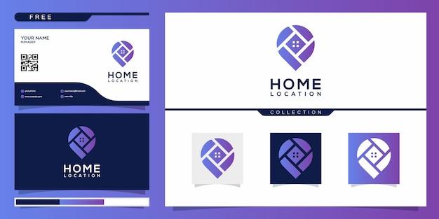 Lokalizacja domu z nowoczesnym stylem logo i szablonem projektu wizytówki