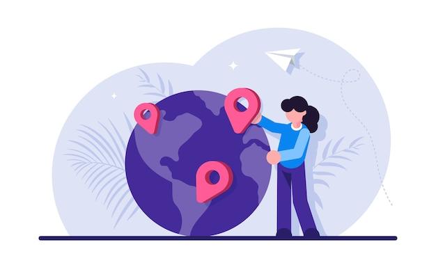 Lokalizacja geograficzna, nawigacja po świecie, wybór celu podróży, planowanie podróży lub podróży.