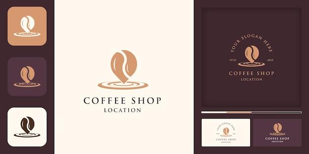 Lokalizacja kawiarni vintage nowoczesne logo, połączenie kawy i szpilki