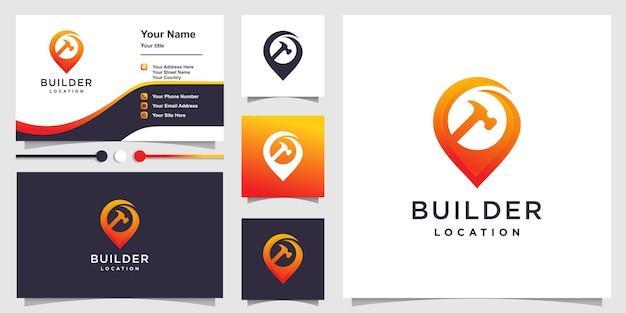 Lokalizacja logo budowniczego z kreatywnym kształtem gradientu premium wektor