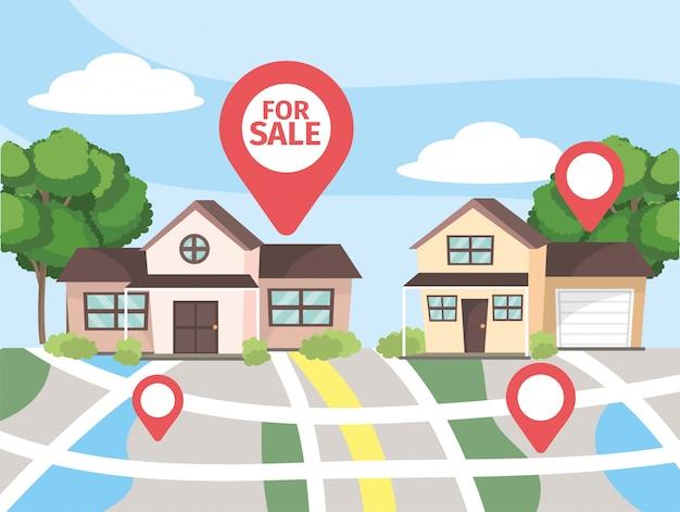 Lokalizacja mapy do sprzedaży nieruchomości w domu