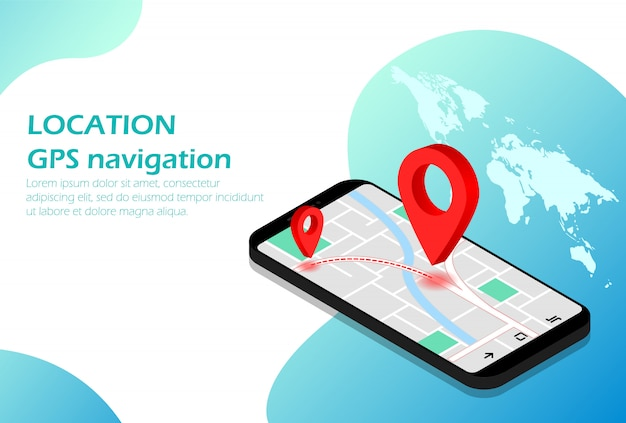 Lokalizacja. nawigacja mobilna. gps izometryczny nadaje się do strony internetowej, infografiki, reklamy, aplikacji.